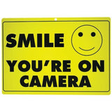 1 X New SMILE YOU'RE ON CAMERA Yellow Business Security Sign CCTV Video Surve... - Chickadee Solutions
