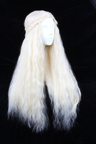 Angelaicos Fluffy Cosplay Wigs for Game of Thrones Daenerys Targaryen Long Bl... - Chickadee Solutions - 1