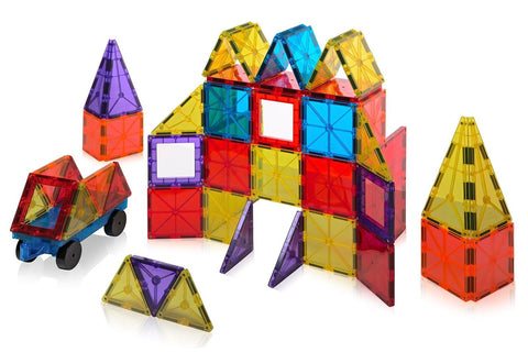 Playmags Clear Colors Magnetic Tiles Building Set 60 Piece Starter Set - Chickadee Solutions - 1
