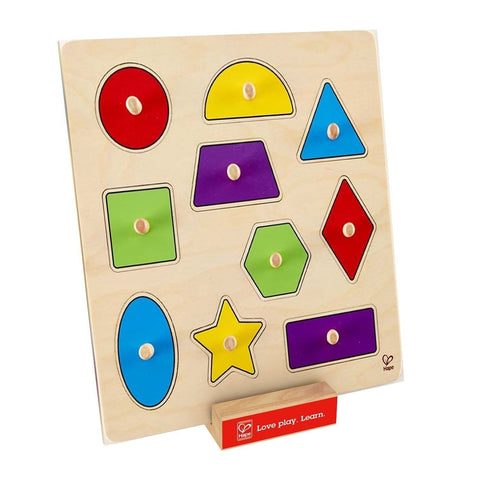 Hape - Geometric Shapes Wooden Knob Puzzle - Chickadee Solutions - 1
