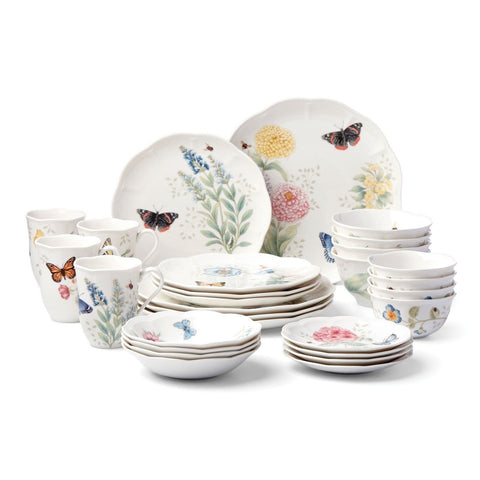 Lenox 28 Piece Butterfly Meadow Classic Dinnerware Set 28-piece Dinnerware Set - Chickadee Solutions