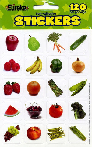 Eureka Fruits and Vegetables Photos Stickers - Chickadee Solutions