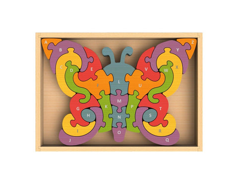 BeginAgain Butterfly A-Z Puzzle- Wooden Toy ABC Puzzle Game - Wooden Puzzle a... - Chickadee Solutions - 1