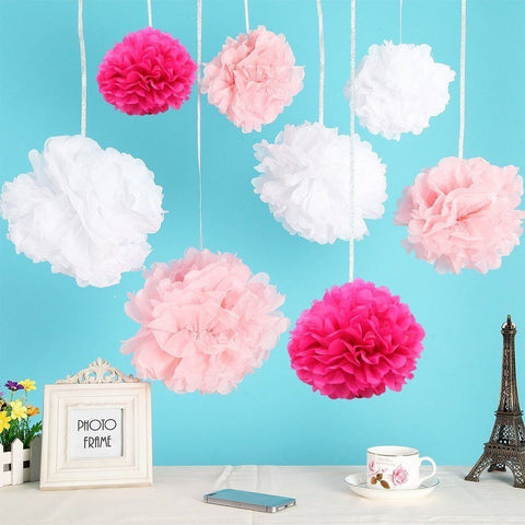 AccMart 24pcs Tissue Paper Pom-poms Flower Ball 25cm/10inch for Wedding Party... - Chickadee Solutions - 1