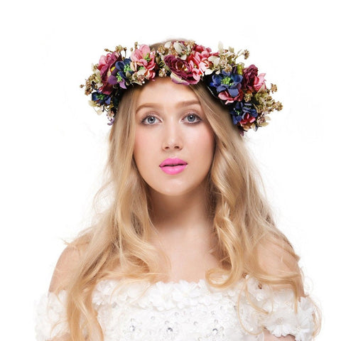 Valdler Vintage Nature Berries Flower Crown with Adjustable Ribbon for Weddin... - Chickadee Solutions - 1
