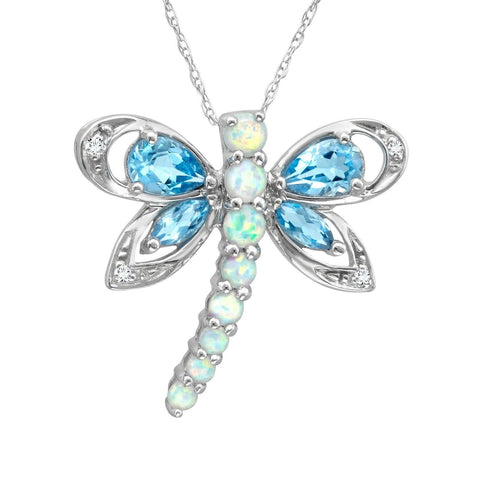 1 3/4 ct Natural Blue Topaz and Created Opal Dragonfly Pendant with Diamonds ... - Chickadee Solutions - 1