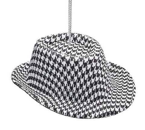 1 X Houndstooth Fabric Hat Ornament -Christmas Holiday Ornament Gift - Chickadee Solutions