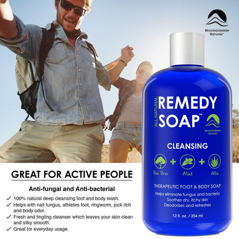 Remedy Antifungal Soap Helps Wash Away Body Odor Athlete's Foot Nail Fungus  R