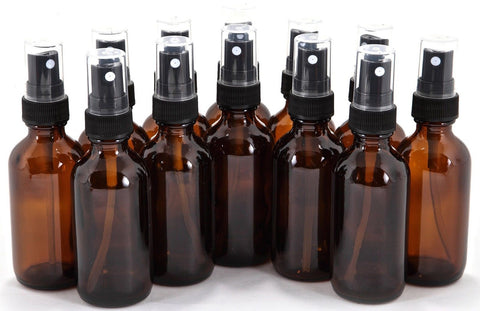 12 New High Quality 2 oz Amber Glass Bottles with Black Fine Mist Sprayer - Chickadee Solutions - 1