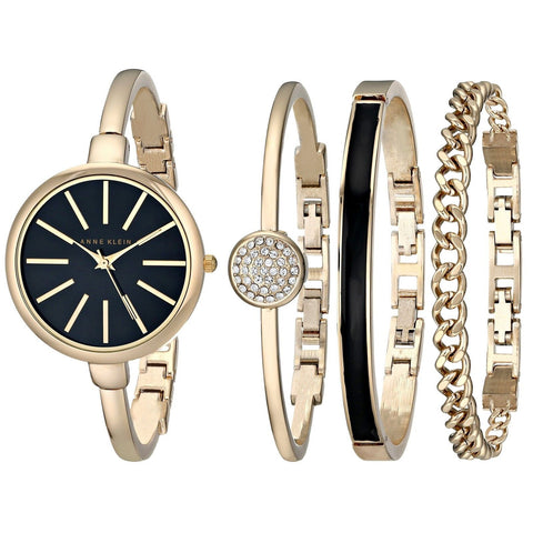Anne Klein Women's AK/1470 Bangle Watch and Bracelet Set Gold/Black - Chickadee Solutions - 1