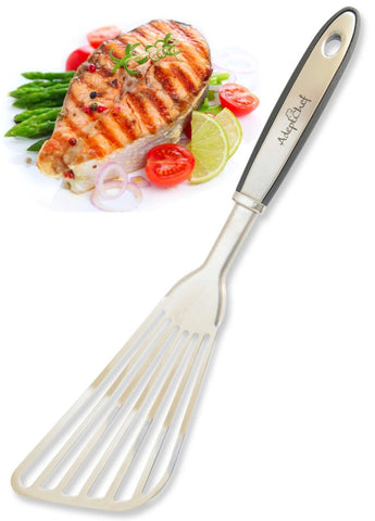 Fish Spatula - AdeptChef Stainless Steel Slotted Turner - Beveled Design Idea... - Chickadee Solutions - 1