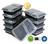 Green Direct (20 Pack) 2 Compartment Meal Prep Container Bento Box with Lid L... - Chickadee Solutions - 1