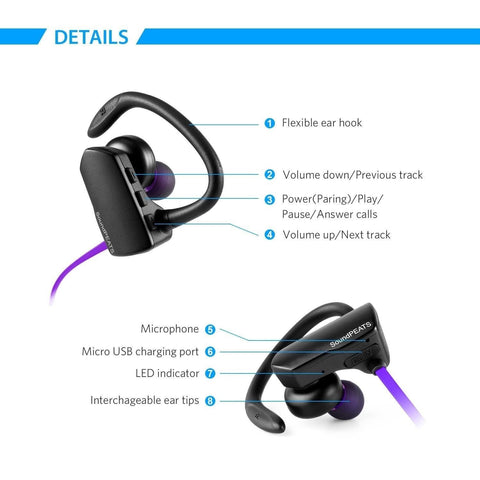 Wireless bluetooth earbuds ear hook - purple bluetooth wireless earbuds