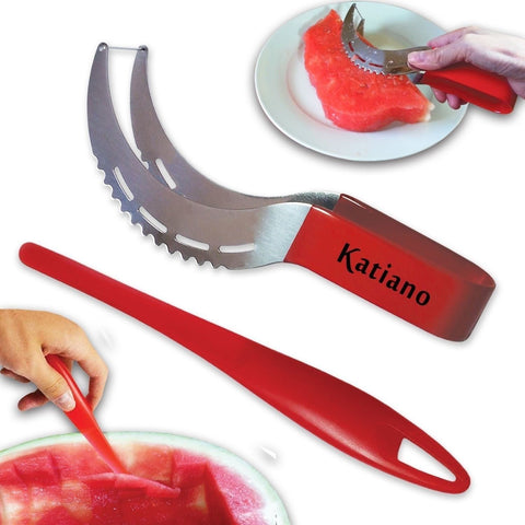 Katiano Watermelon Slicer and Tongs with Stainless Steel Blades Includes Free... - Chickadee Solutions - 1