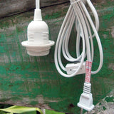 Single Socket Pendant Light Cord Kit for Lanterns (15FT UL Listed White) 15FT - Chickadee Solutions - 1