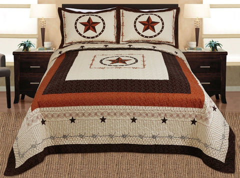 3-piece Western Lone Star Barb Wire Cabin / Lodge Quilt Bedspread Coverlet Se... - Chickadee Solutions - 1