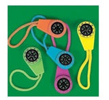 Fun Express Neon Compass On Cord (1 Dozen) - Bulk Toy - Chickadee Solutions