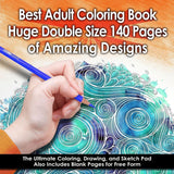 Best Adult Coloring Book (Double Size) - 140 Pages with 68 Designs - Amazing ... - Chickadee Solutions - 1