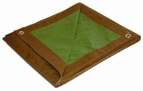 8' x 10' Dry Top Brown/Green Reversible Full Size 7-mil Poly Tarp item #180101 - Chickadee Solutions - 1