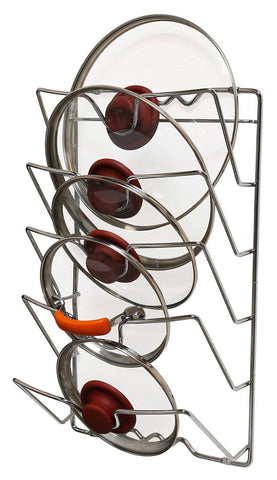 DecoBros Wall Door Mounted Pot Lid Rack Chrome Finish - Chickadee Solutions - 1