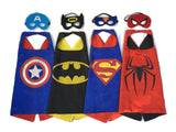 Superhero Dress Up Costumes - 4 Satin Capes and 4 Felt Masks One Size - Chickadee Solutions - 1