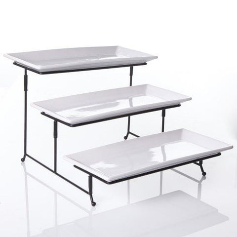3 Tier Rectangular Serving Platter Three Tiered Cake Tray Stand Food Server D... - Chickadee Solutions - 1