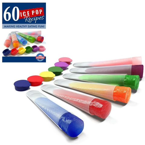 Silicone Ice Pop Molds and Ice Pop Maker Set of 6 Clear Tubes Plus 60 Recipes... - Chickadee Solutions - 1