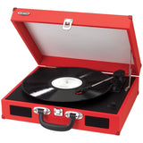 Jensen JTA-410-R Portable 3-Speed Stereo Turntable with Built-In Speakers (Red) - Chickadee Solutions