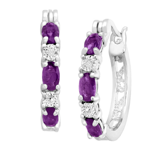 1 3/8 ct Natural Amethyst Hoop Earrings with Diamonds in Platinum over Brass ... - Chickadee Solutions - 1