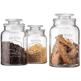 Value Saving Quality Canister Set Of Set of 3 Clear Glass Round Jar with Tigh... - Chickadee Solutions
