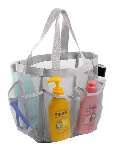 7 Pocket Shower Caddy Tote (Grey) Grey - Chickadee Solutions