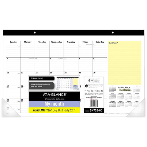 AT-A-GLANCE Academic Year Monthly Desk Pad Calendar July 2016 - July 2017 Com... - Chickadee Solutions - 1