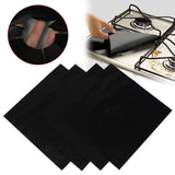 KINGSO 8pcs Reusable Black Foil Gas Range Hob Stovetop Nonstick Protector Liner - Chickadee Solutions - 1