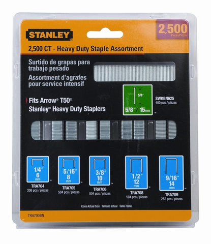 Stanley TRA700BN Heavy-Duty Staple & Brad Assortment 2500-Pack 1-Pack - Chickadee Solutions