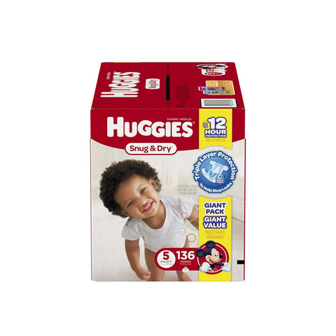 Huggies Snug and Dry Diapers Size 5 136 Count Huggies - Chickadee Solutions - 1