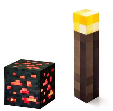 Minecraft Light Up Torch and Redstone Ore Set Of 2 ThinkGeek - Chickadee Solutions - 1