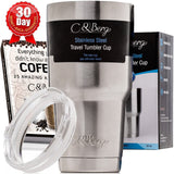 C&Berg Stainless Steel Travel Tumbler 30 Oz Cup Double Wall Insulation Ice Co... - Chickadee Solutions - 1
