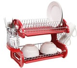 Home Basics Dish Plastic Drainer 2-Tier Red - Chickadee Solutions
