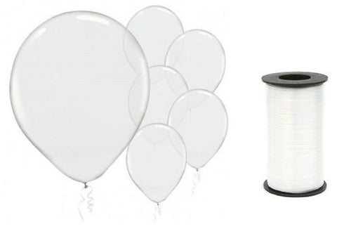(72) Clear Transparent Latex 12 Inch Balloons and White Curling Ribbon Bundle - Chickadee Solutions - 1