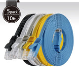 Cat 6 Ethernet Cable 10ft (At a Cat5e Price but Higher Bandwidth) Flat Intern... - Chickadee Solutions - 1