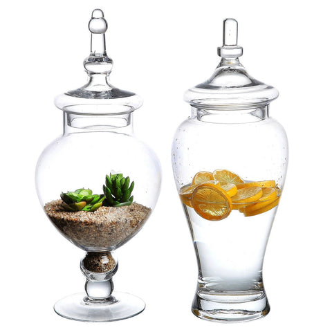 Set of 2 Large Decorative Clear Glass Apothecary Jars / Wedding Centerpieces ... - Chickadee Solutions - 1