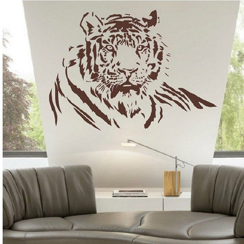 Animal Large Tiger Half Body Wall Decal Sticker Living Room Stickers brown Co... - Chickadee Solutions