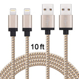 Eashion(TM)2PCS 10FT Nylon Braided Lightning to USB Cable Charging Cord with ... - Chickadee Solutions - 1