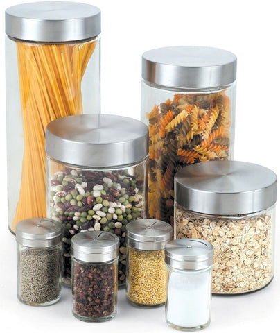 Cook N Home Glass Canister and Spice Jar Set 8-Piece - Chickadee Solutions