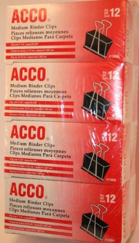 ACCO Medium Size Binder Clips - 1 p1/4'' Width. 5/8'' Capacity - 12 per Box -... - Chickadee Solutions