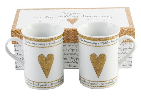 50th Golden Wedding Anniversary Gift Set Ceramic Mugs By Haysom Interiors - Chickadee Solutions