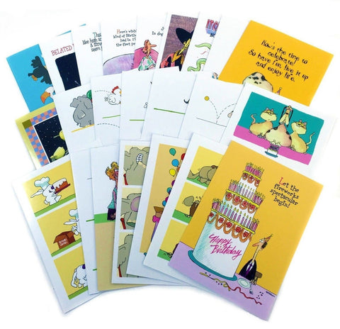 Birthday Card Assorted Humorous Pack of 24 Cards/26 Envelopes - Assortment #1 - Chickadee Solutions - 1