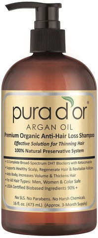 Pura d'or Premium Organic Argan Oil Anti-Hair Loss Shampoo (Gold Label) 16 Fl... - Chickadee Solutions - 1