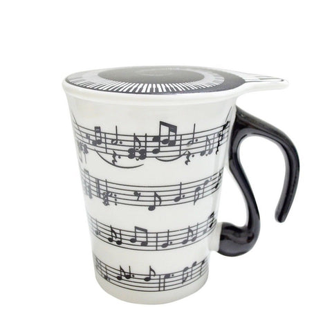 Gift Garden Unique Coffee Mugs with Lid Staves Music Notes MKB867 - Chickadee Solutions - 1