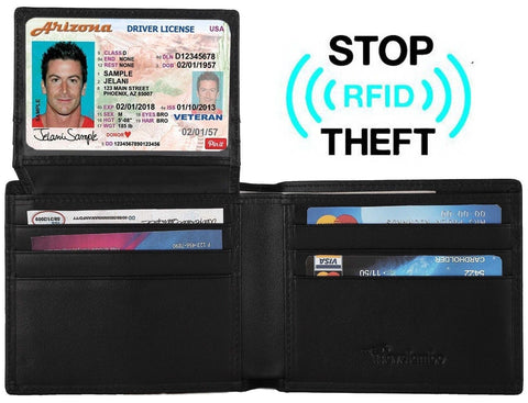 Travelambo Genuine Leather RFID Blocking Wallets Mens Wallet Black - Chickadee Solutions - 1